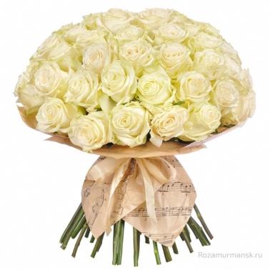 Букет из белых роз 35 шт