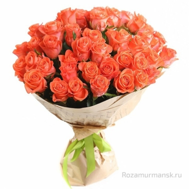 Букет из оранжевых роз 51 шт