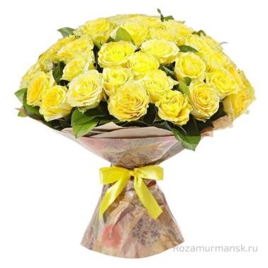 Букет из желтых роз 51 шт