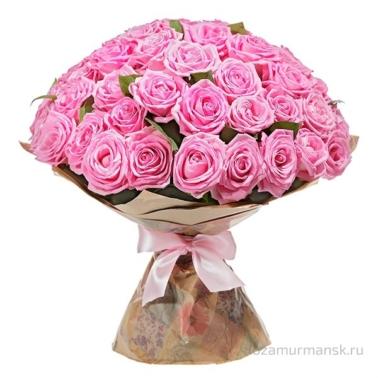 Букет из розовых роз 51 шт