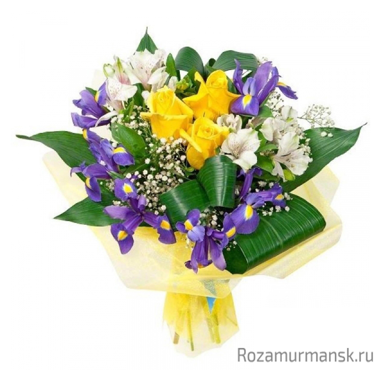 Букет из роз тюльпанов и аспидистры, букетов