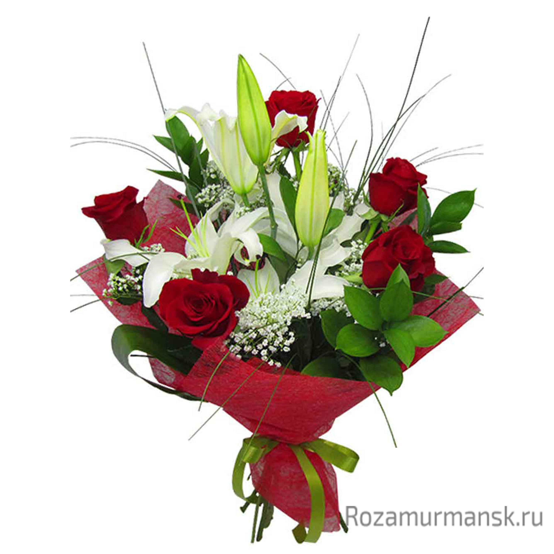 Цветы свадьбу, букеты лилии с розами